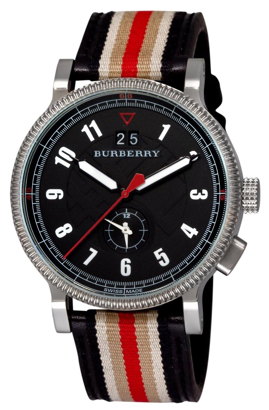 burberry men s watches at gemnation com burberry tricolor webbing dual time men s watch model bu7680