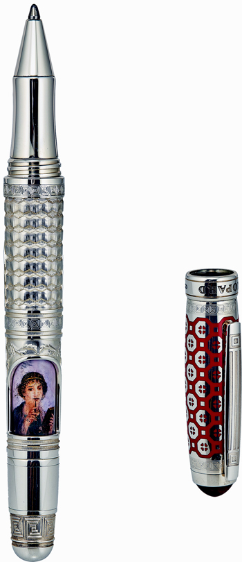Chopard Solid Sterling Silver (925) Hand-Painted Portrait Of Pompeii Ball Point Pen Model 95013-0156