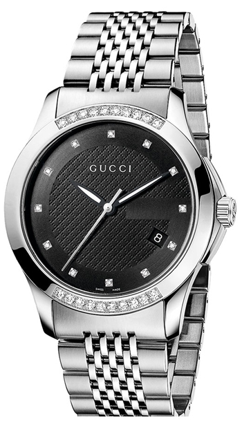 Men's black diamond steel watch