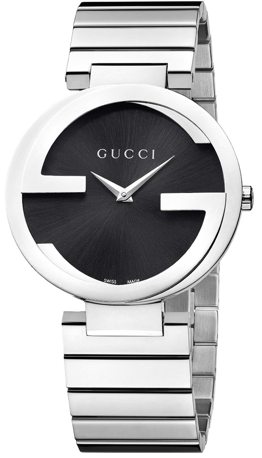1030d27e390 Gucci YA133206 - In Stock! - This handsome men s Gucci Interlocking G watch  is made from black ion-plated steel and is fitted with a quartz movement.