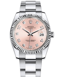 Rolex Rolex Oyster Perpetual Date Air King Ladies Watch Model 115234-Pink-Diam