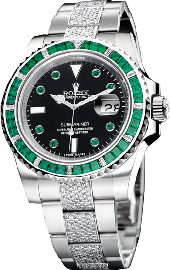 rolex submariner diamond emerald baguette unisex watch model 116649 rh gemnation com Rolex Watches Rolex GMT
